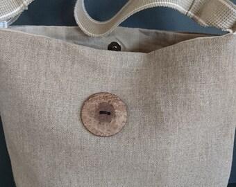 5df30c678116 Linen Canvas Daisy slouchy shoulder bag