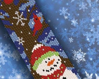 Let It Snow - Snowman Peyote Bracelet PDF Pattern
