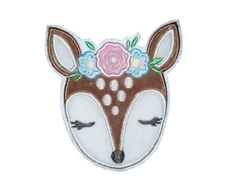 Plush applications, patch deer with flowers, fawn