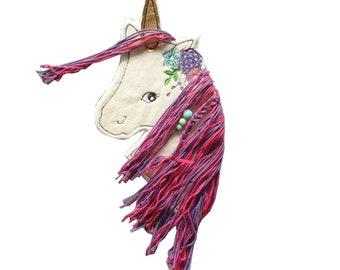 Unicorn 3 D with purple mane, patch, appliqué