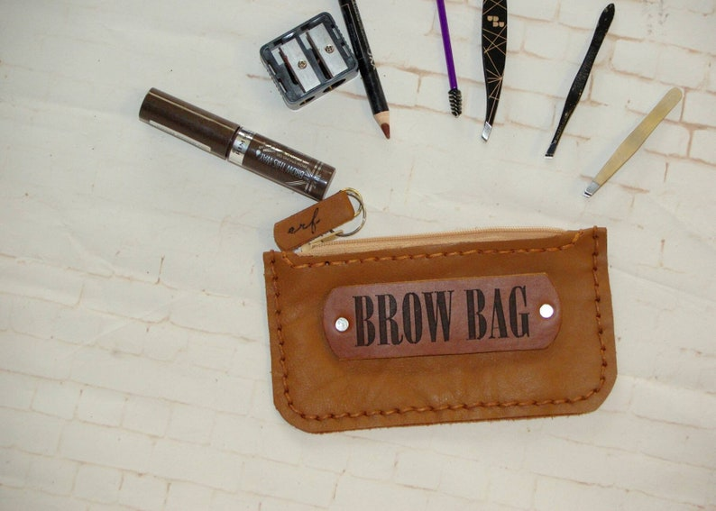 Tan Brown BROW BAG Genuine Leather and Hemp Australian Made Zipped Clutch phone purse makeup bag small travel clutch gift for beauty queens