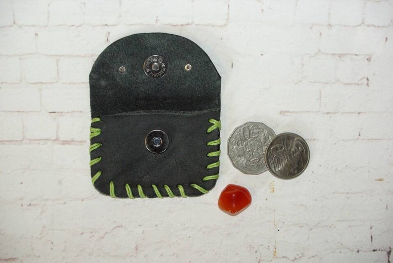 BREATHE Coin Purse in Grey and Green made in Australia using natural materials One of a kind Handmade with Genuine Leather /& Waxed Hemp