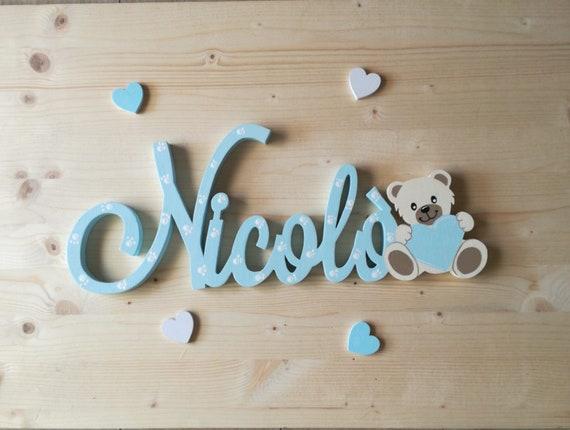 Decorazioni In Legno Per Bambini : Lettere di legno per cameretta bambini personalizzato lettere di