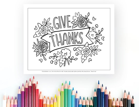 Give Thanks Coloring Page Printable Coloring Instant Digital