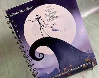 Nightmare Before Christmas notebook/journal - Little Golden Book/Bullet Journal/storybook journal/Upcycled journal/Disney journal/Tim Burton