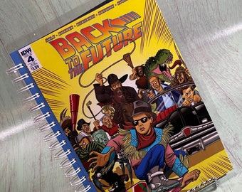 Back to the Future  notebook, sketchbook, bullet journal, upcycled journal, re-purposed journal, recycled comic book journal, Michael J Fox