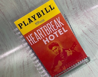 Heartbreak Hotel PLAYBILL notebook, re-purposed journal, recycled playbill, theatre gifts, Broadway playbill, playbill journal