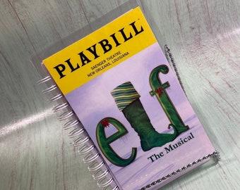 Elf PLAYBILL notebook, re-purposed journal, recycled playbill, theatre gifts, Broadway playbill, playbill journal