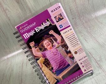 Disney map notebook - Disney journal/ Sketchbook/Bullet Journal/storybook journal/Upcycled journal/disney notebook/disney maps/magic kingdom