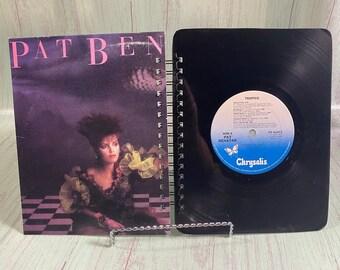 Pat Benatar vinyl notebook, handmade journal, bullet journal, sketchbook, upcycled journal, music gift, record journal, re-purposed journal
