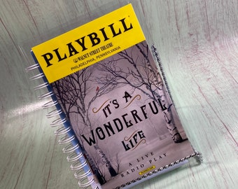 It's a Wonderful Life PLAYBILL notebook, re-purposed journal, recycled playbill, theatre gifts, Broadway playbill, playbill journal