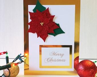Poinsettia Christmas Card, Christmas Greetings Card, Holiday Card, Christmas Card Pack, Handmade Card