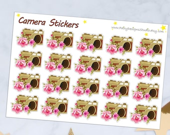 Camera with Flowers Planner Stickers