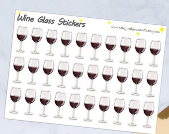 Wine Glass Planner Stickers