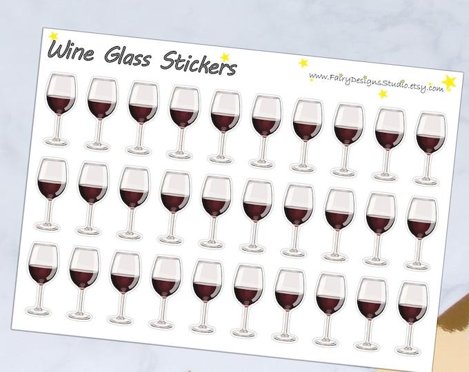 Wine Glass Planner Stickers