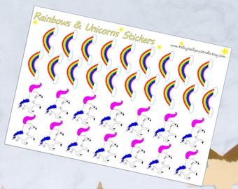 Unicorns & Rainbows Planner Stickers