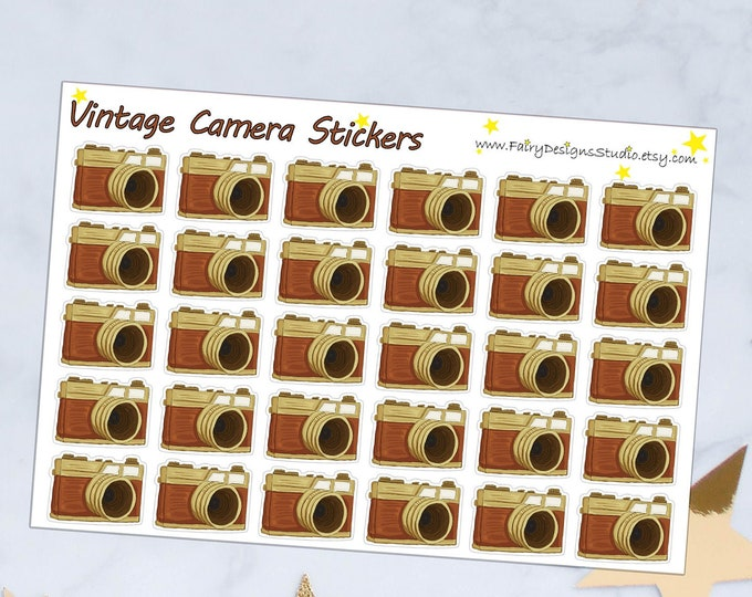Vintage Camera Planner Stickers