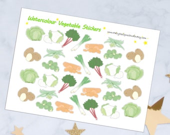 Watercolour Vegetable Planner Stickers