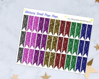 Glitter Small Page Flags Planner Stickers