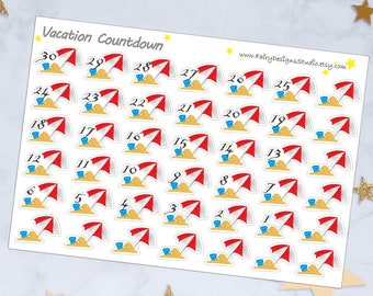 Summer Vacation Countdown Stickers