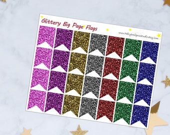 Glitter Page Flags Planner Stickers