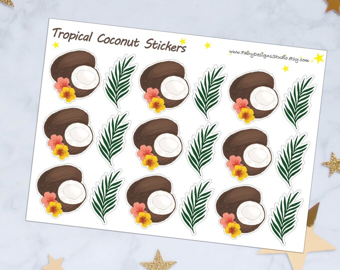 Tropical Coconut Planner Stickers