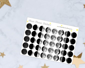 Realistic Moon Phases Planner Stickers