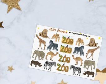 ZOO Animals Planner Stickers, ZOO Stickers, Wild Animals Stickers, Vinyl Stickers