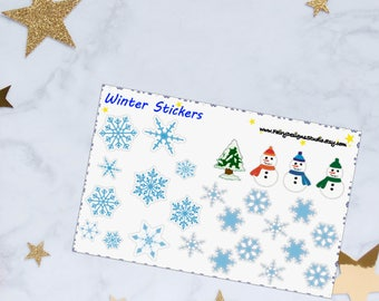 Winter Planner Stickers, Snowflake Stickers, Winter Stickers, Snowman Stickers, Vinyl Stickers