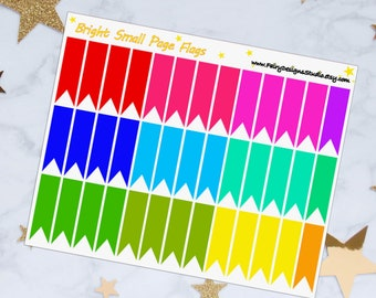 Bright Small Page Flags Planner Stickers
