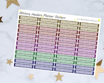 Glitter Headers Planner Stickers