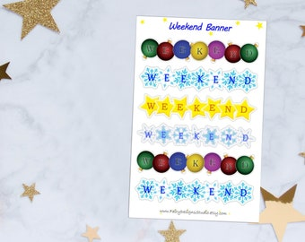 Winter Weekend Banner Planner Stickers