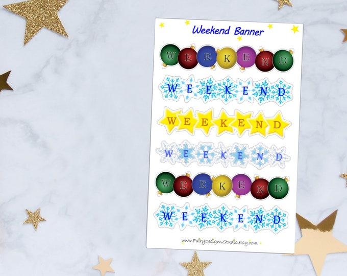 Winter Weekend Banner Planner Stickers