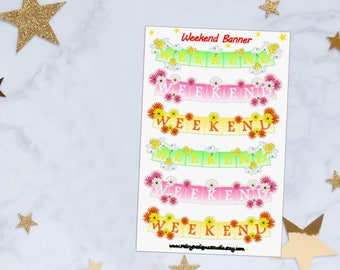 Floral Weekend Banner Planner Stickers