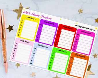 Work Hours Planner Stickers