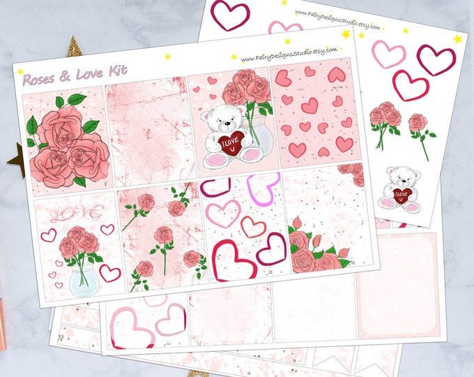 Roses & Love Planner Sticker Kit
