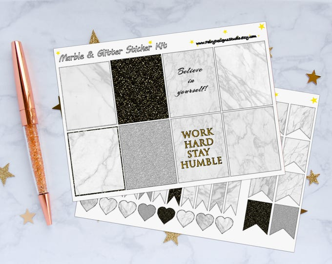 Marble Glitter Planner Stickers Kit