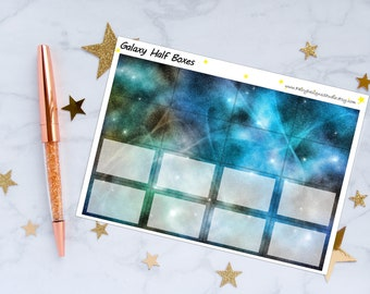 Galaxy Half Boxes Planner Stickers