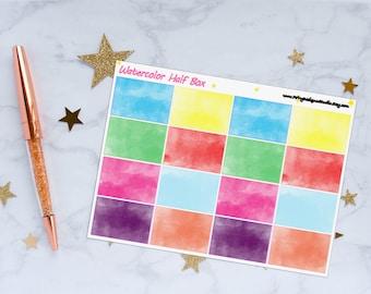 Watercolor Half Box Planner Stickers