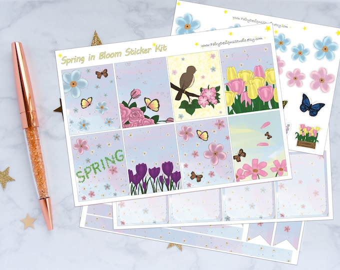 Spring in Bloom Planner Sticker Kit