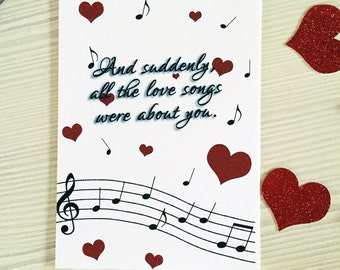 Music Notes Valentine's Day Greetings Card