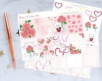 Roses & Love Planner Sticker Kit