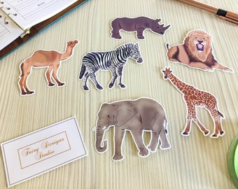 Safari Animals Vinyl Stickers