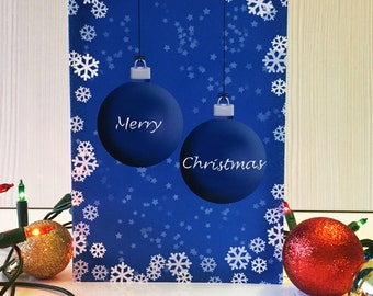 Blue Ornament Christmas Greeting Card