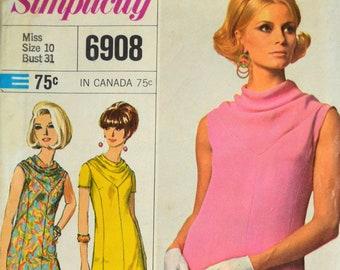 Uncut 1960s Simplicity Vintage Sewing Pattern 6908, Size 10; Misses' One-Piece Dress