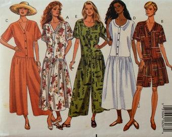 Uncut 1990s Butterick Vintage Sewing Pattern 6781, Size 12-14-16; Misses' Dress & Jumpsuit