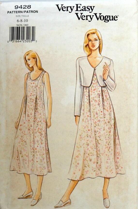 Uncut 1990s Vogue Vintage Sewing Pattern 9428 Size 6 8 10 Etsy