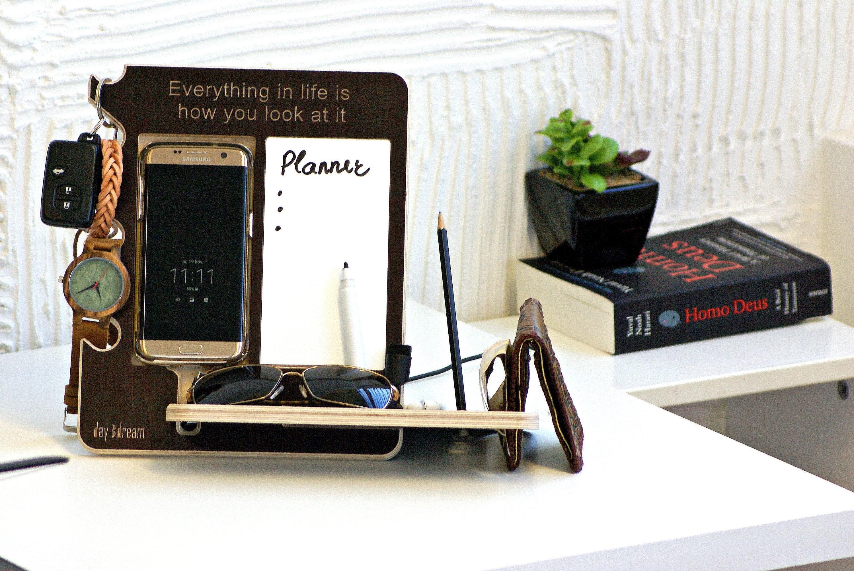 Docking Station Wood Desk Organizer Nightstand Organizer Gift For Him Men Gift Men Dock Station Organizer For Men