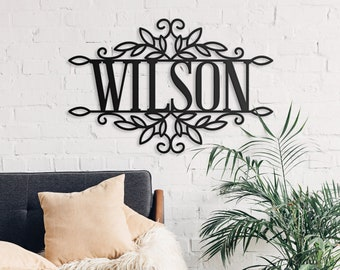 Custom Family Name Sign, Last Name Sign, Cutout Word Signs, Name Sign, Word Sign, Wall Hanging Decor, Cut Out Sign, Modern Wall Art (GM9012)