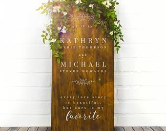 Custom Wedding Signs, Wood Wedding Sign, Couples Name Sign, Wedding Date Sign, Custom Wood Sign, Engagement Gift, Wedding Gift (GP1128-WM)